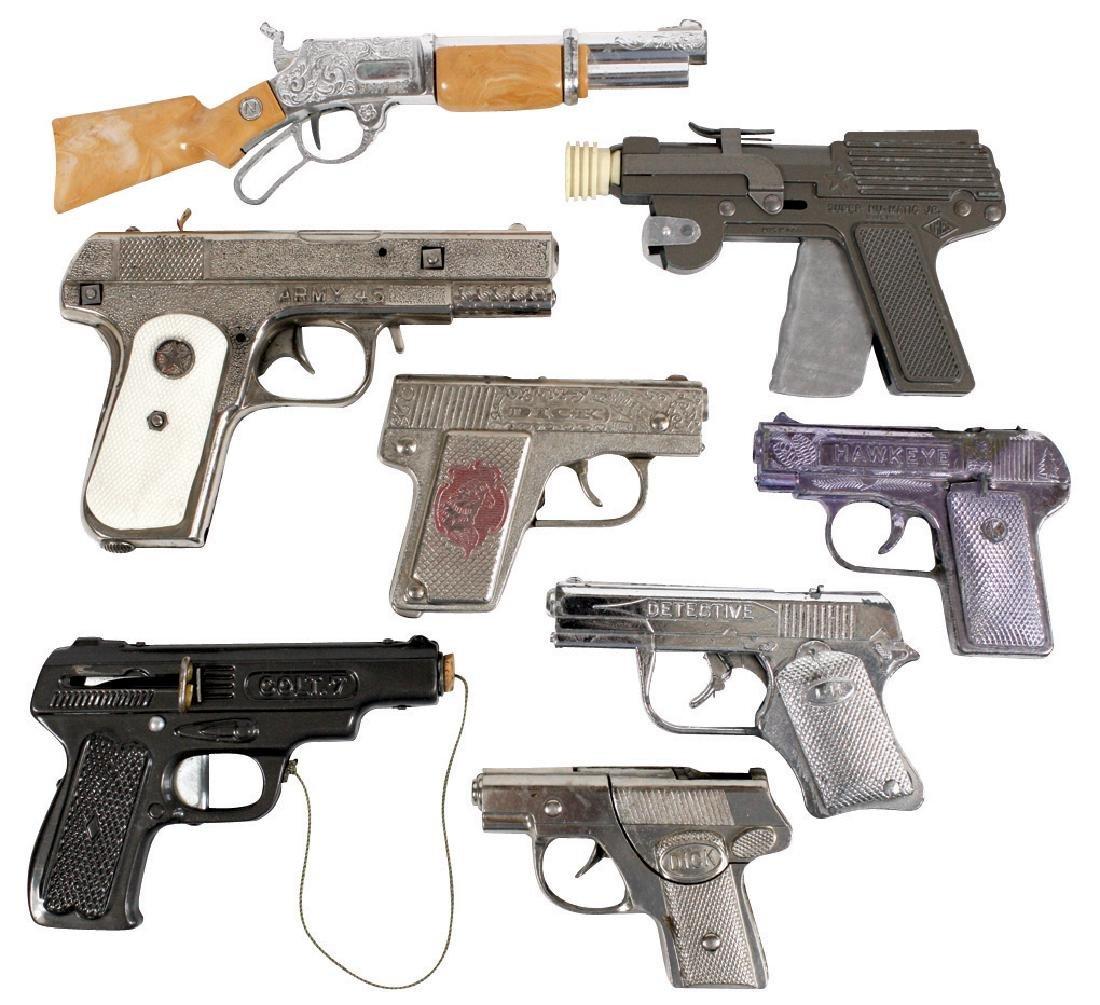 "Toy cap guns (8), Kilgore, Hawkeye, (2) Hubley ""Dicks"","