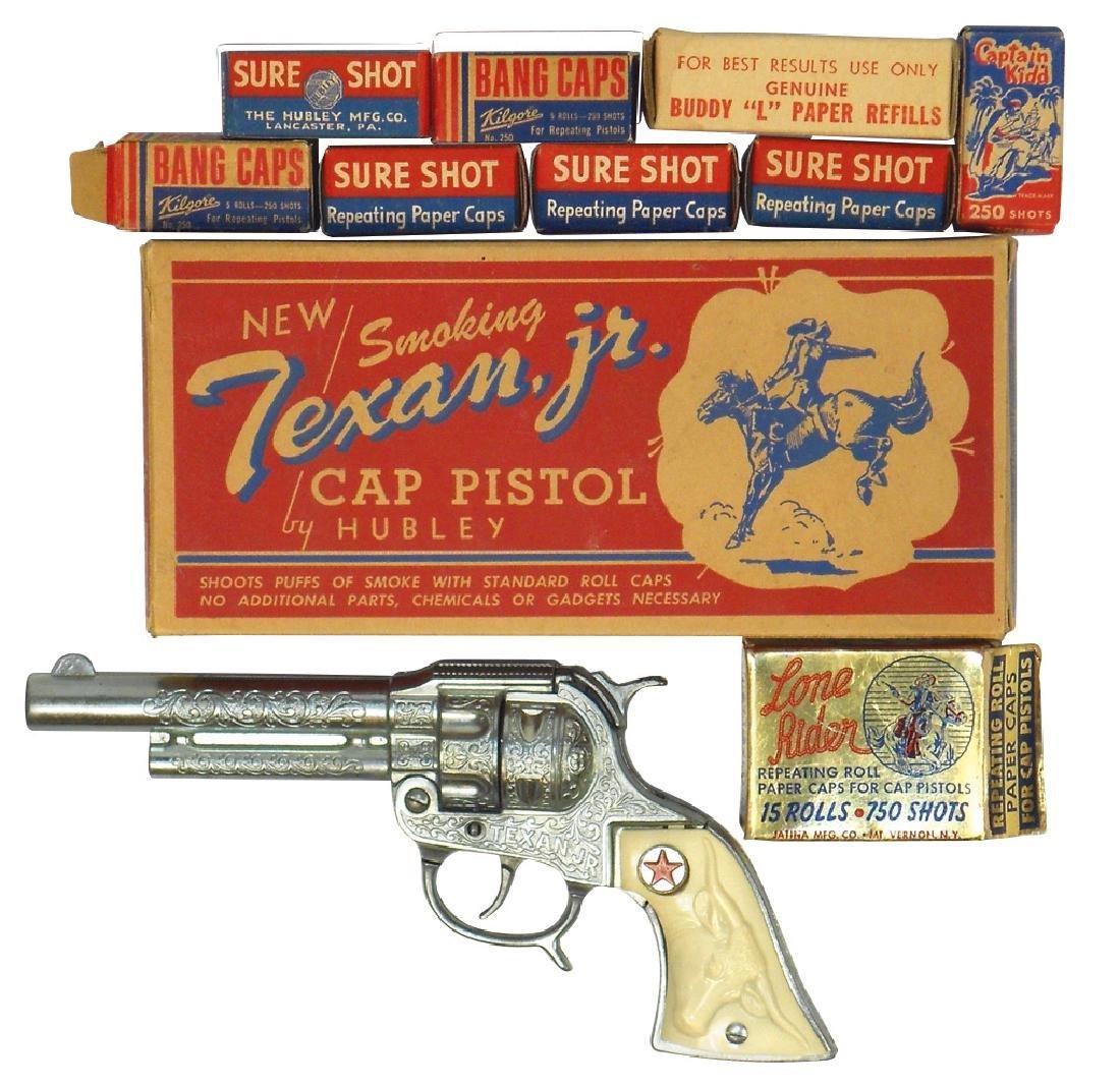 Toy cap pistol & caps (10), Hubley Texan, Jr. w/orig