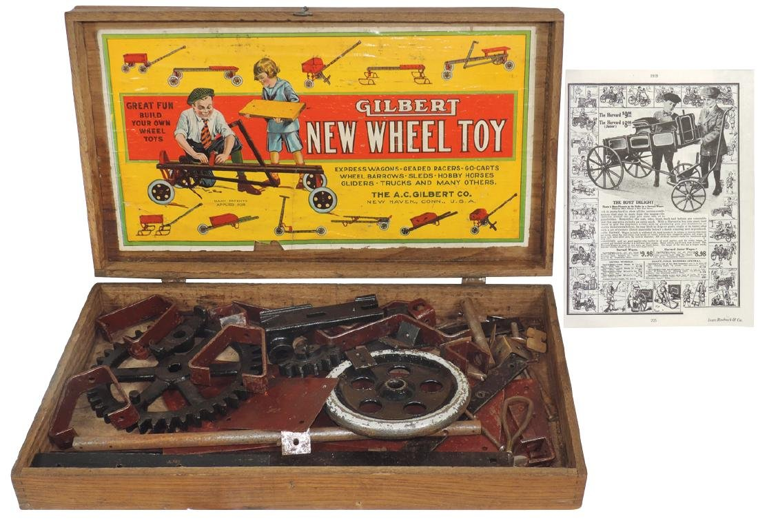 Toy erector set, Gilbert New Wheel Toy, mfgd by The