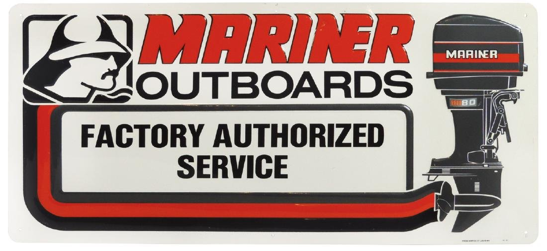 Outboard motor contemporary sign & floor mats (4),