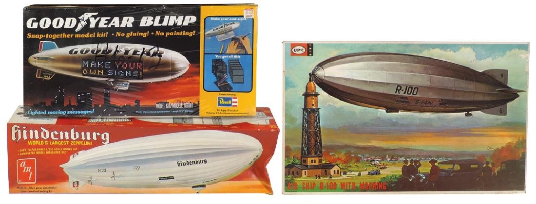 Toy model kits (3), amt Hindenburg, UPC R-100 Air Ship