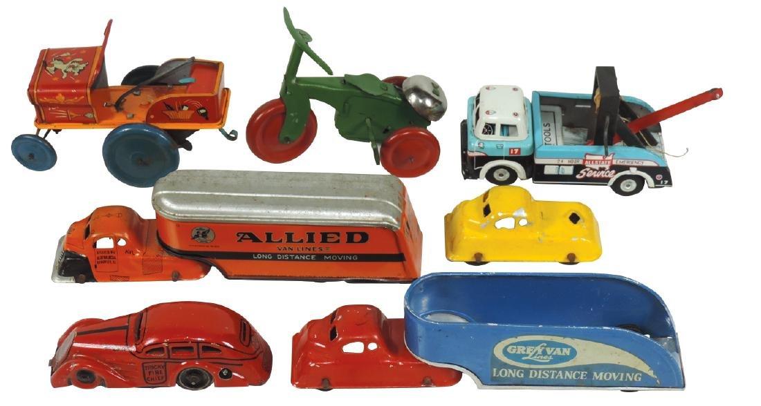 Toys (6), cars, trucks, tricycle & jeep, Grey Van Lines