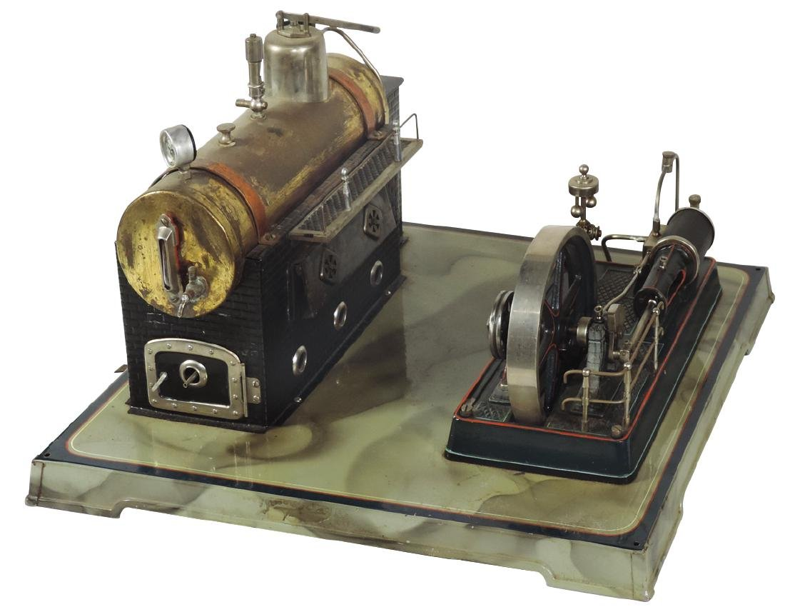 Steam toy, steam engine & flywheel combination mounted