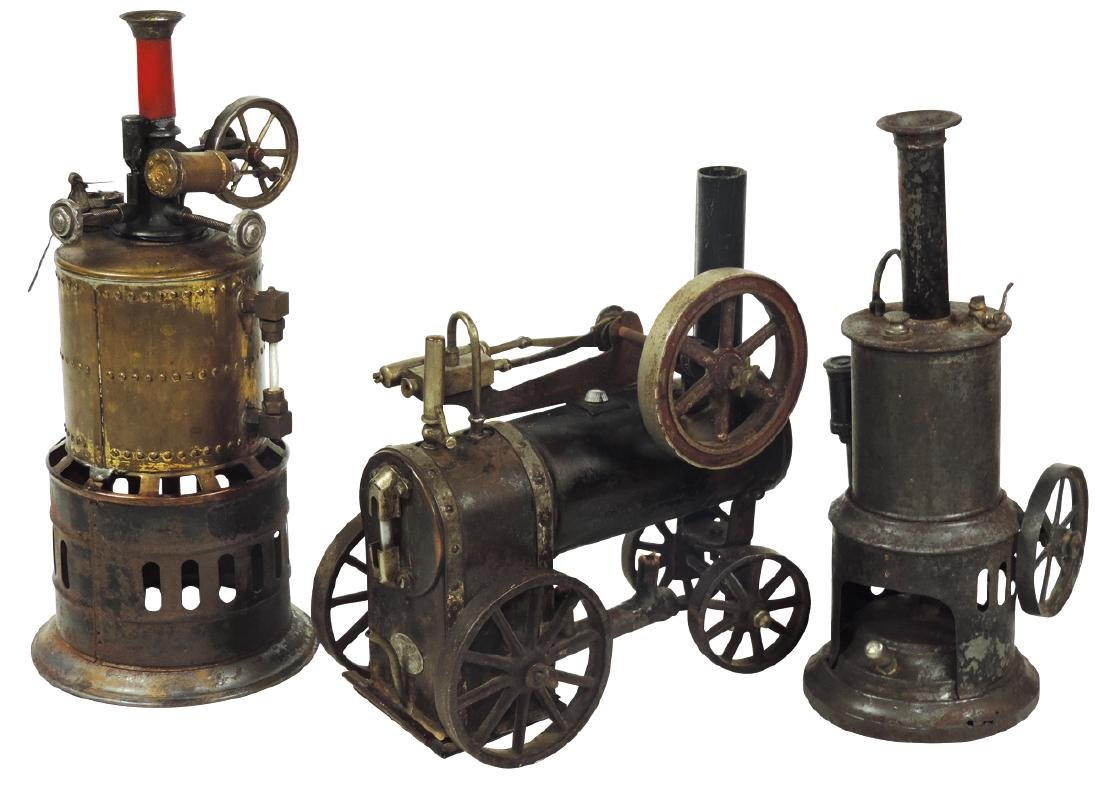 Steam toys (3), all engines, 1 marked Doll Mfg