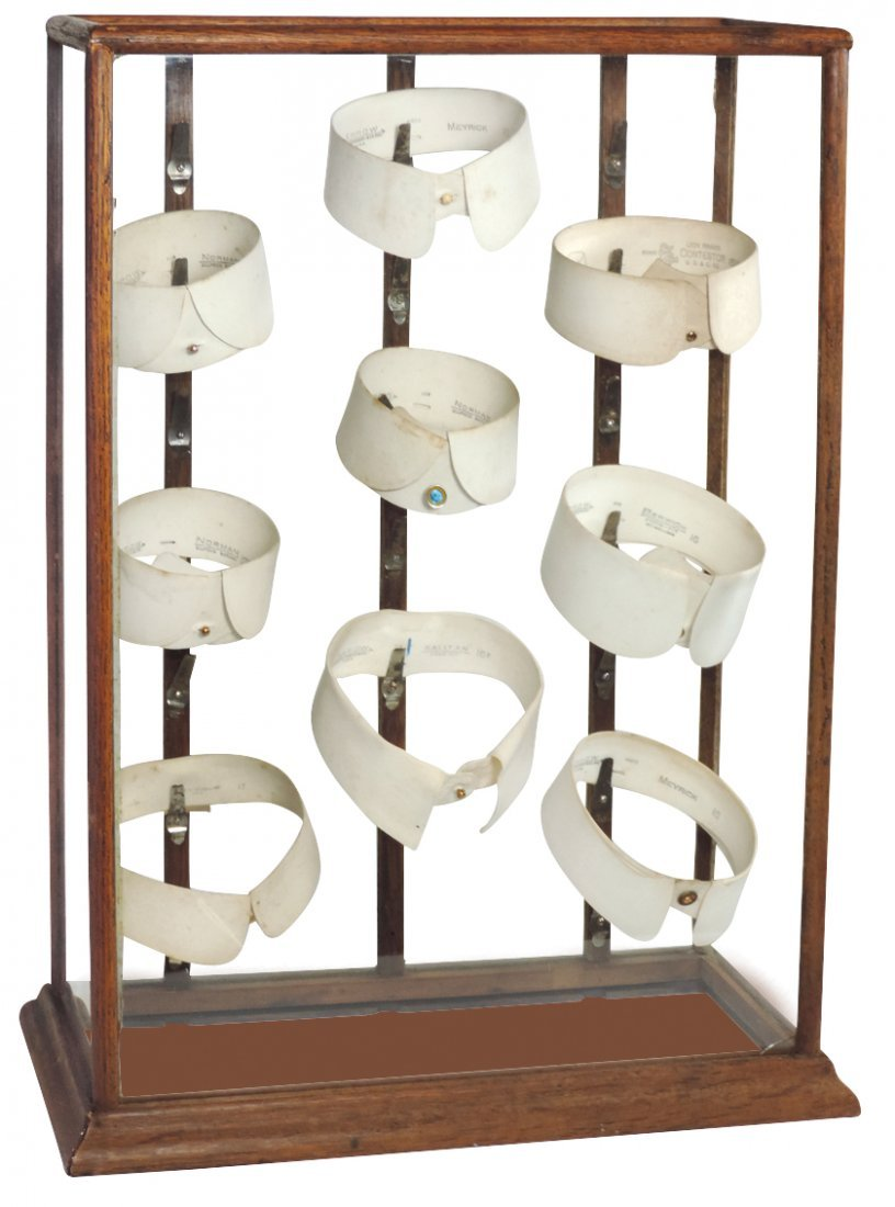 Country store collar display, oak & glass case w/metal