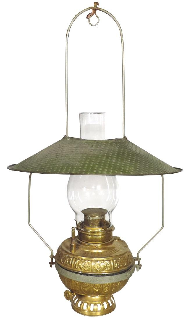 Country store hanging lamp, embossed brass lamp w/orig