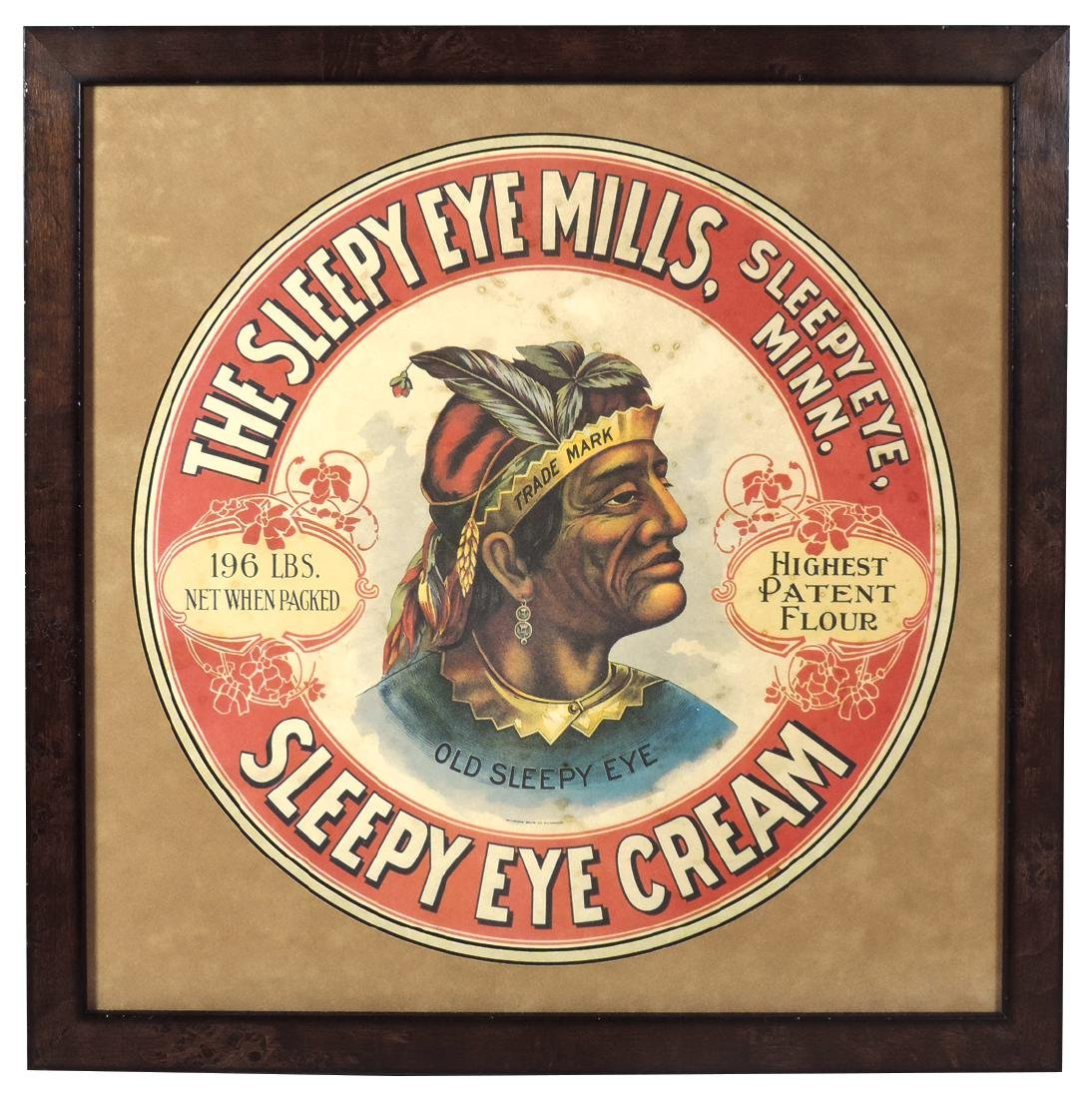 Advertising Sleepy Eye barrel label, colorful Indian