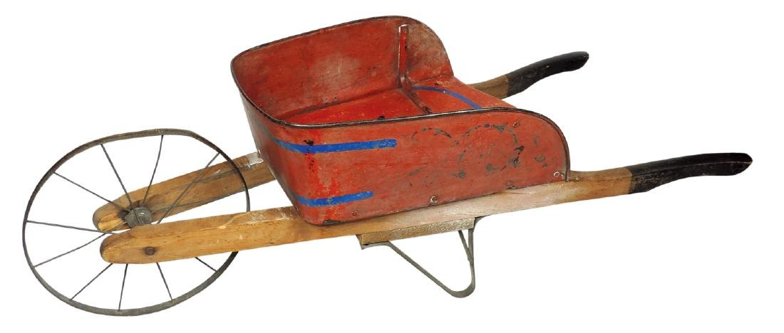 Children's wheelbarrow, metal & wood, orig paint &