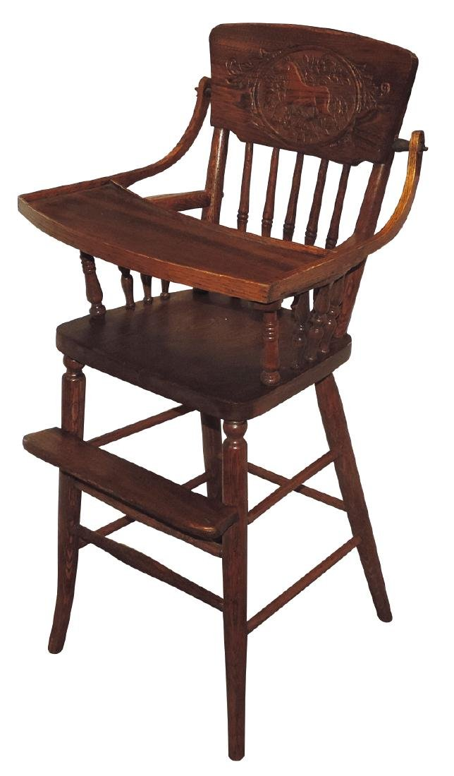 Children's highchair, oak w/pressed back picturing a
