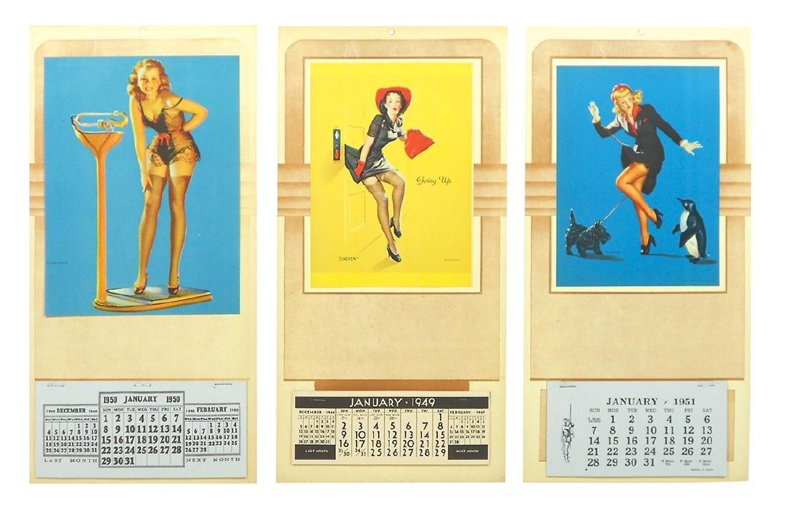 Pin-up calendars (3), 1949, 1950 & 1951 Elvgren signed