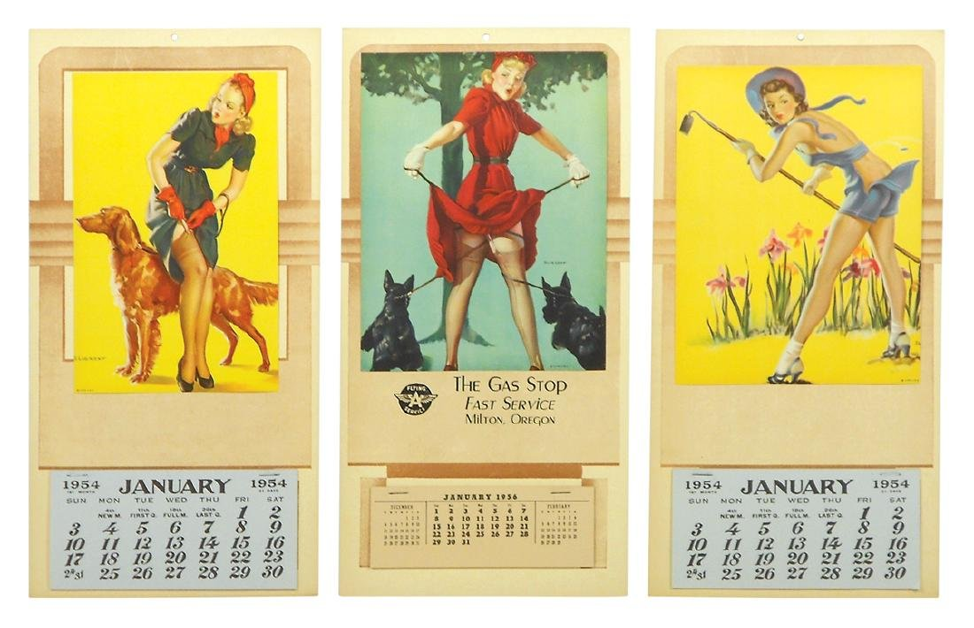 Pin-up calendars (3), 1954 (2) & 1956 Elvgren signed