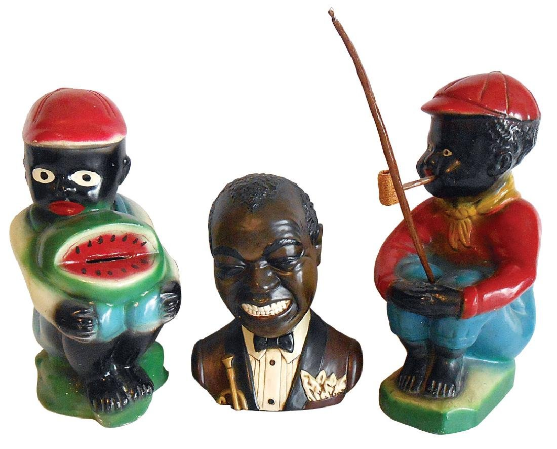Black Americana (3), 2 painted plaster figures-Black