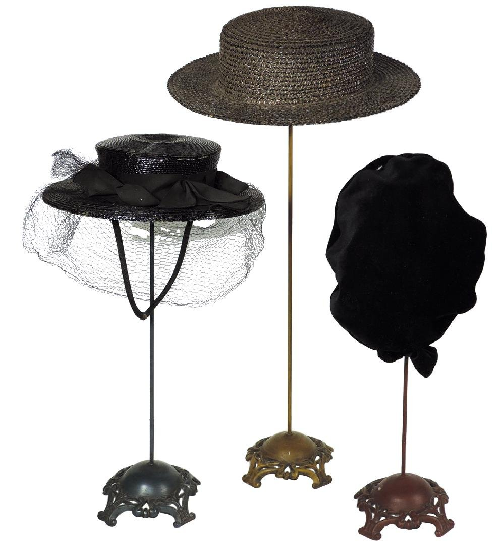 Country store hat stands w/hats, (3) fancy cast metal
