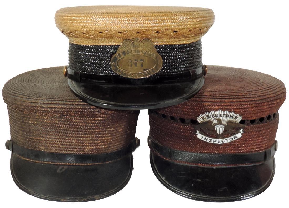 Men's uniform hats (3), U.S. Customs Inspector woven