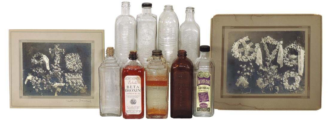 Funeralia (11), embossed glass embalming fluid bottles: