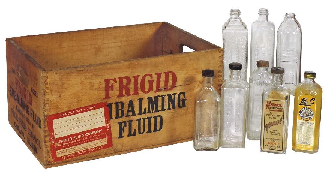 Funeralia (9), 8 embalming bottles, all embossed glass,