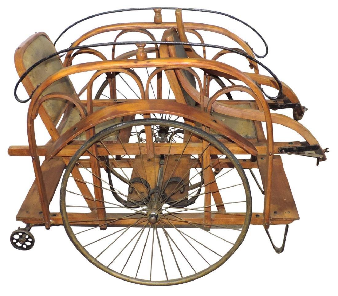 Children's double stroller, oak w/leather seats & wire