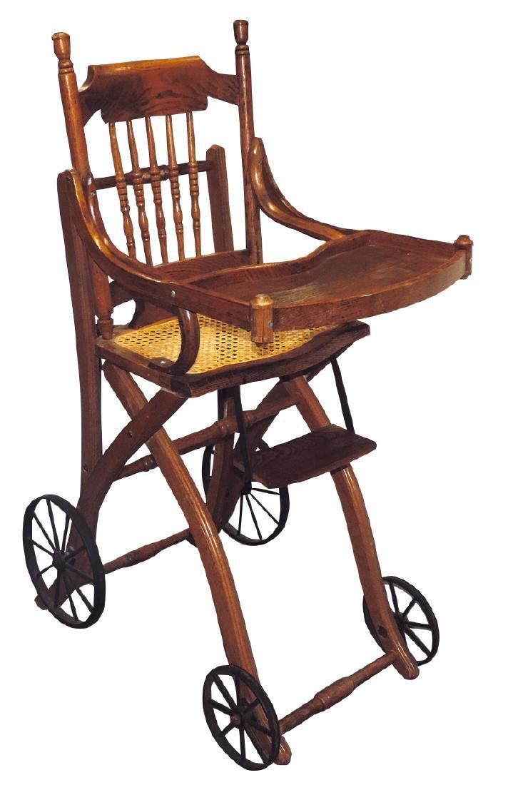 Children's highchair & stroller combination, oak