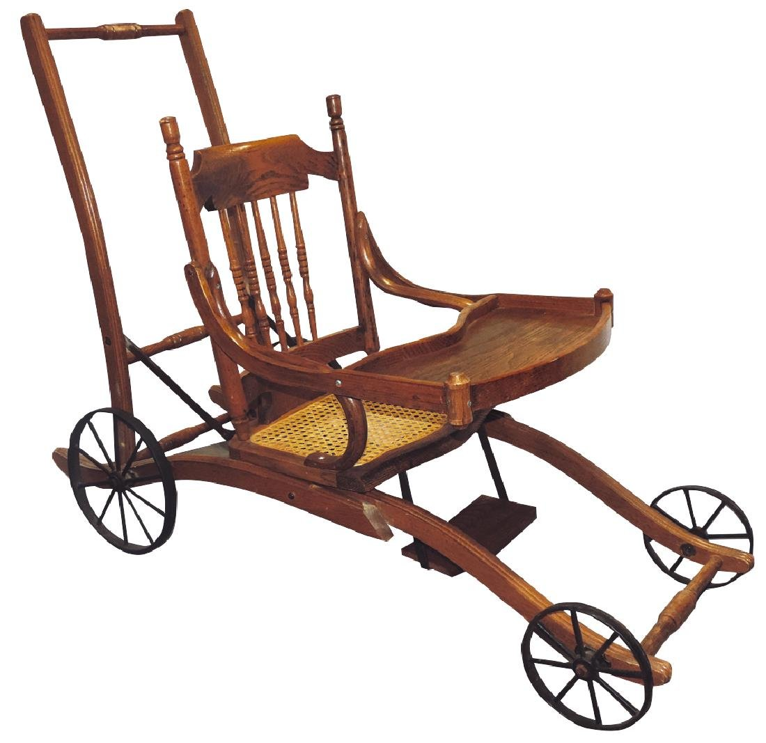 Children's highchair & stroller combination, oak - 2