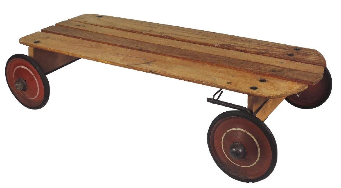 Children's sled, Go Devil sled wagon, wood w/metal
