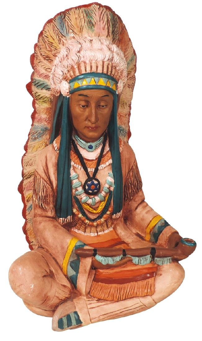 Cigar Store Indian counter display, painted plaster,