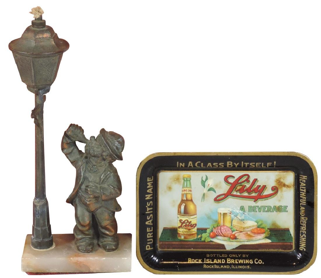 Cigar lighter & tip tray, Drunken Man by Lamp Post,