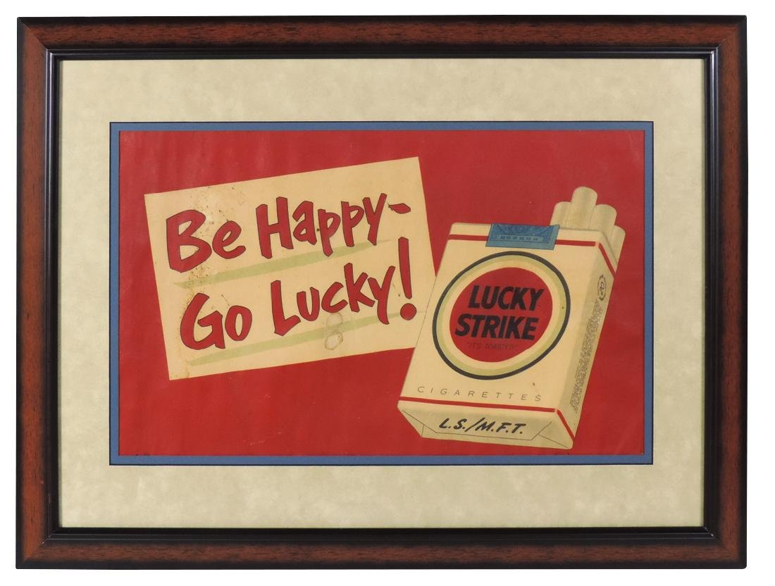 Tobacciana, Lucky Strike colorful paper sign, prof