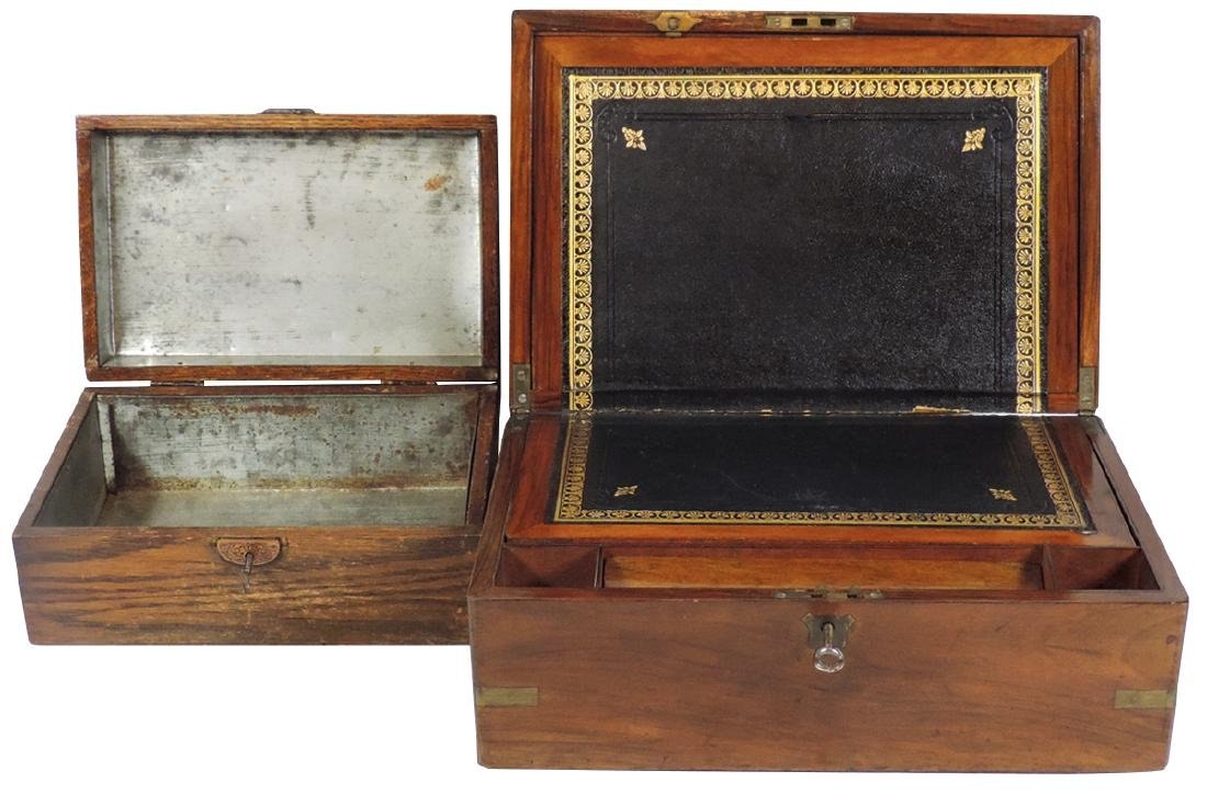 Traveling lap desk & cigar humidor (2), walnut desk