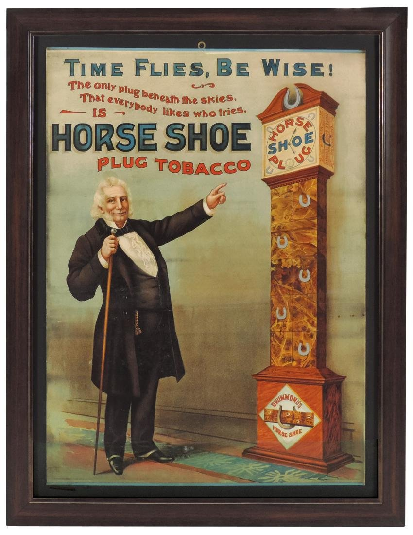 Tobacco advertising sign, Horse Shoe Plug Tobacco,