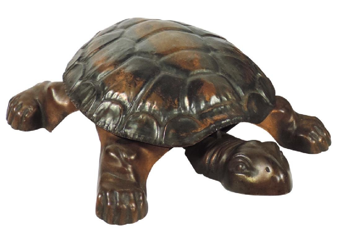 Cigar store figural spittoon, cast iron turtle w/formed