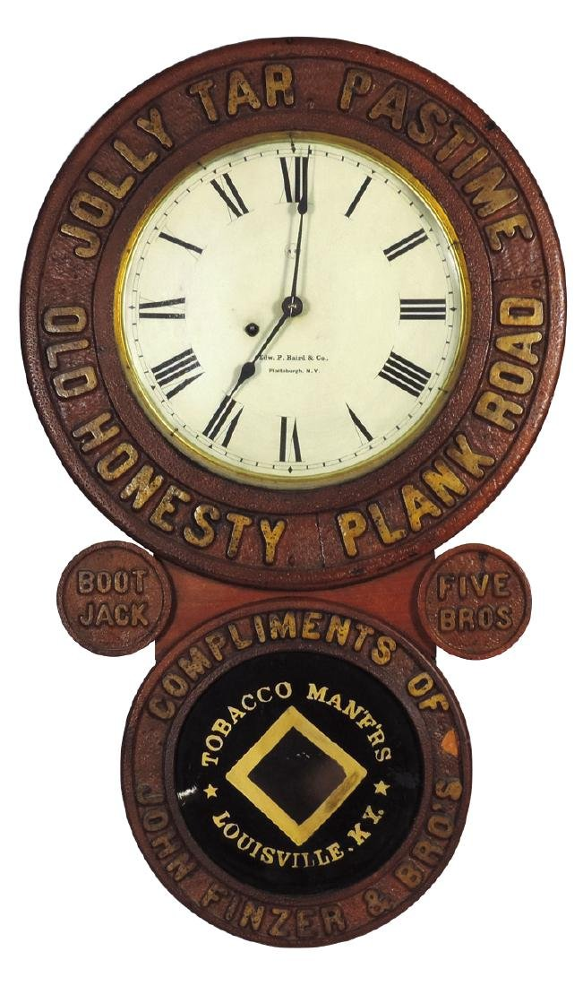 Baird tobacco advertising clock, Jolly Tar Pastime-Old