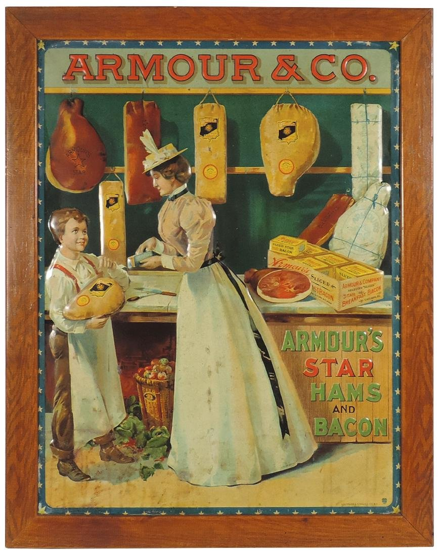 Country store advertising sign, Armour & Co., Star Hams