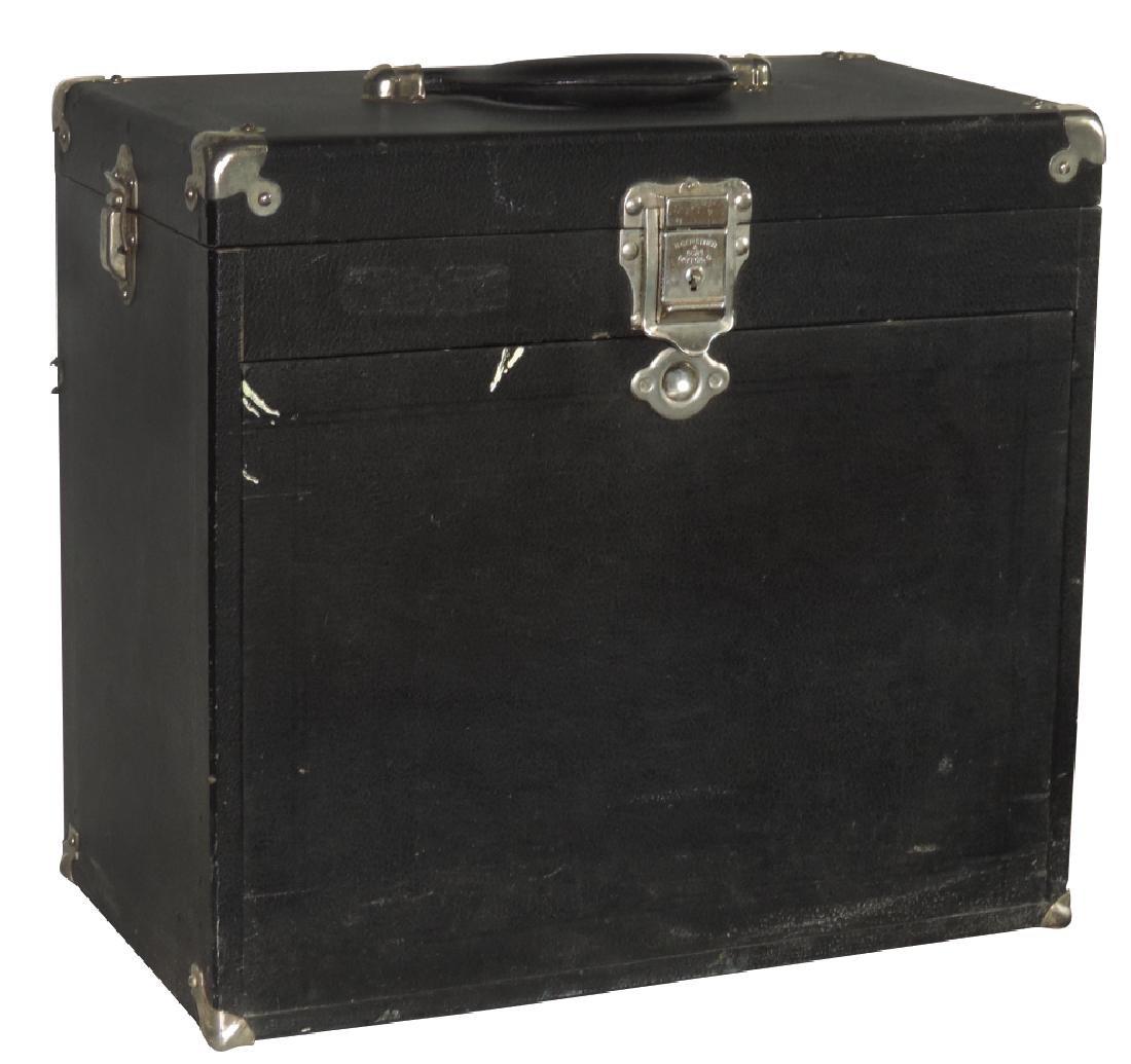 Dentist's cabinet, portable leather-like case w/oak