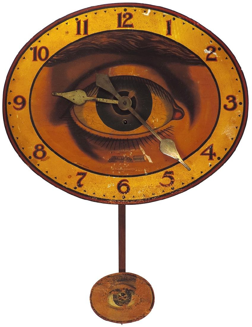Advertising clock, Optometrist wall regulator, litho on