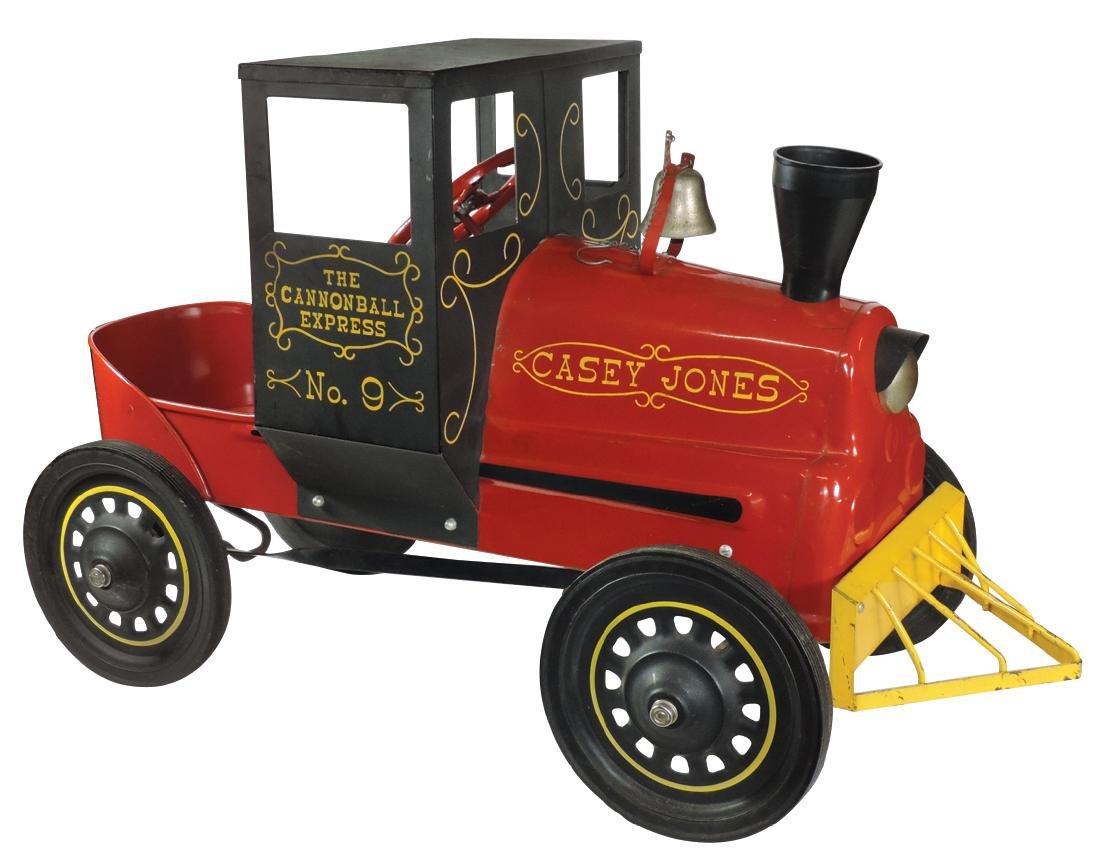 """Children's pedal car, gold lettering reads """"Casey Jones"""