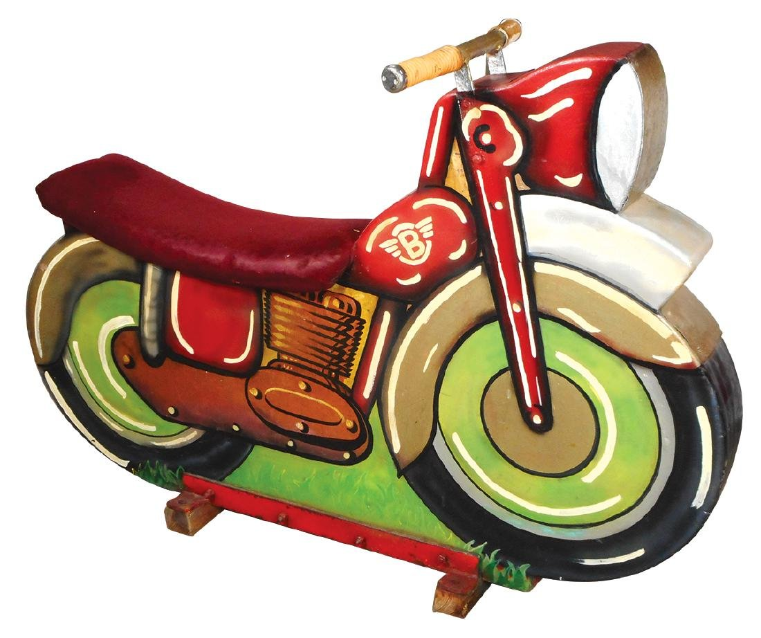 Carnival ride, Children's motorcycle, painted wood &