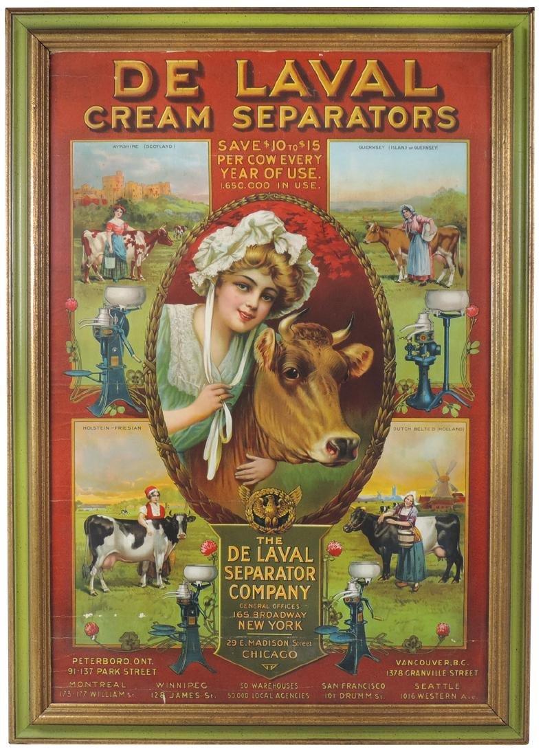 De Laval Cream Separators sign, prof framed litho on