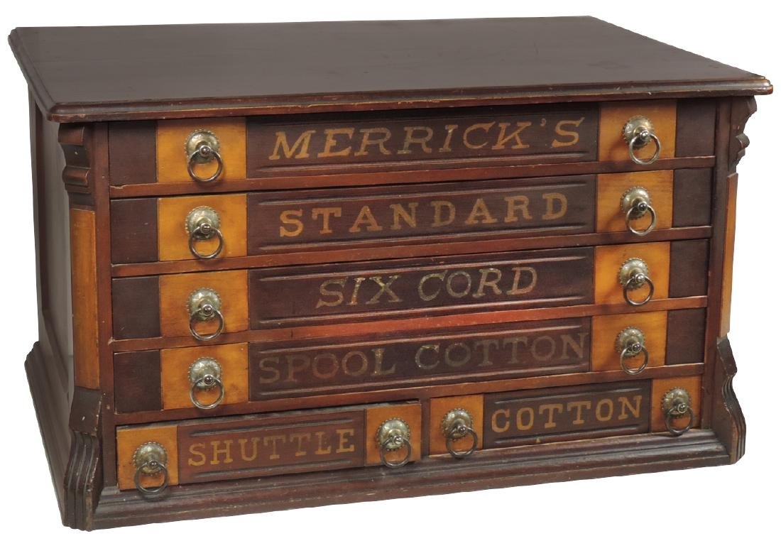 Country store spool cabinet, Merrick's 6-drwr, ash &