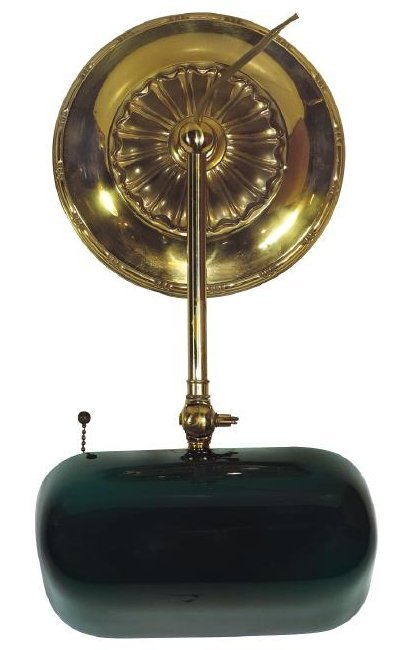 Banker's lamp, heavily weighted brass base w/Emeralite