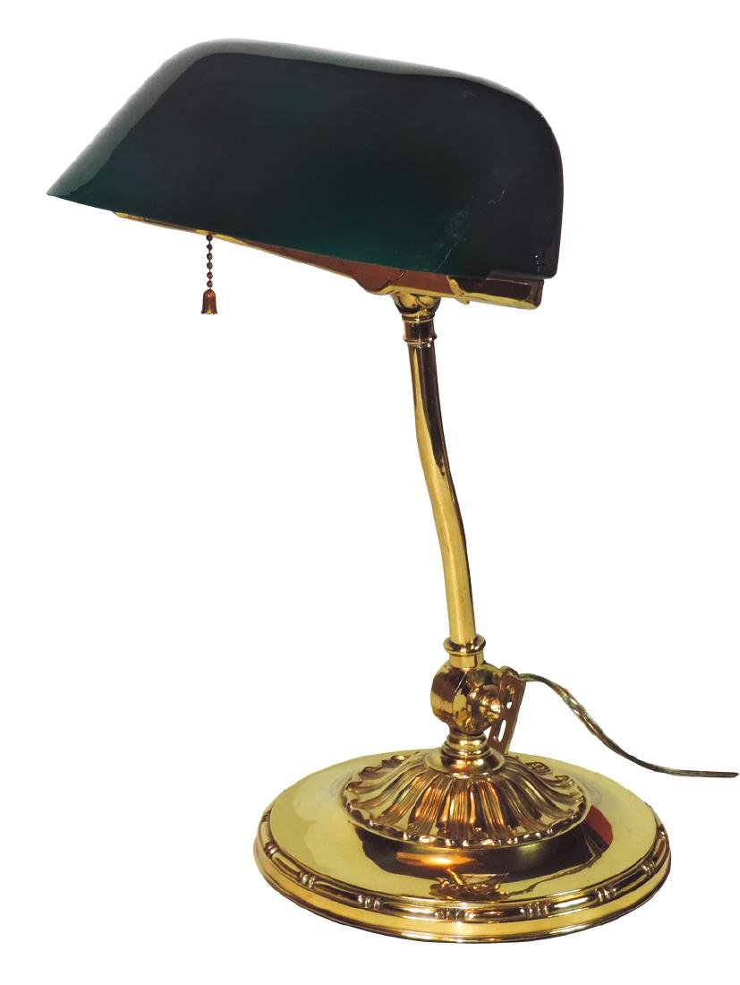 Library or banker's lamp, heavily weighted brass base