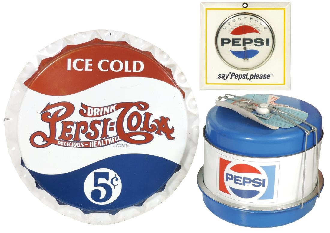 "Pepsi-Cola items (3), ""say Pepsi please"" thermometer,"