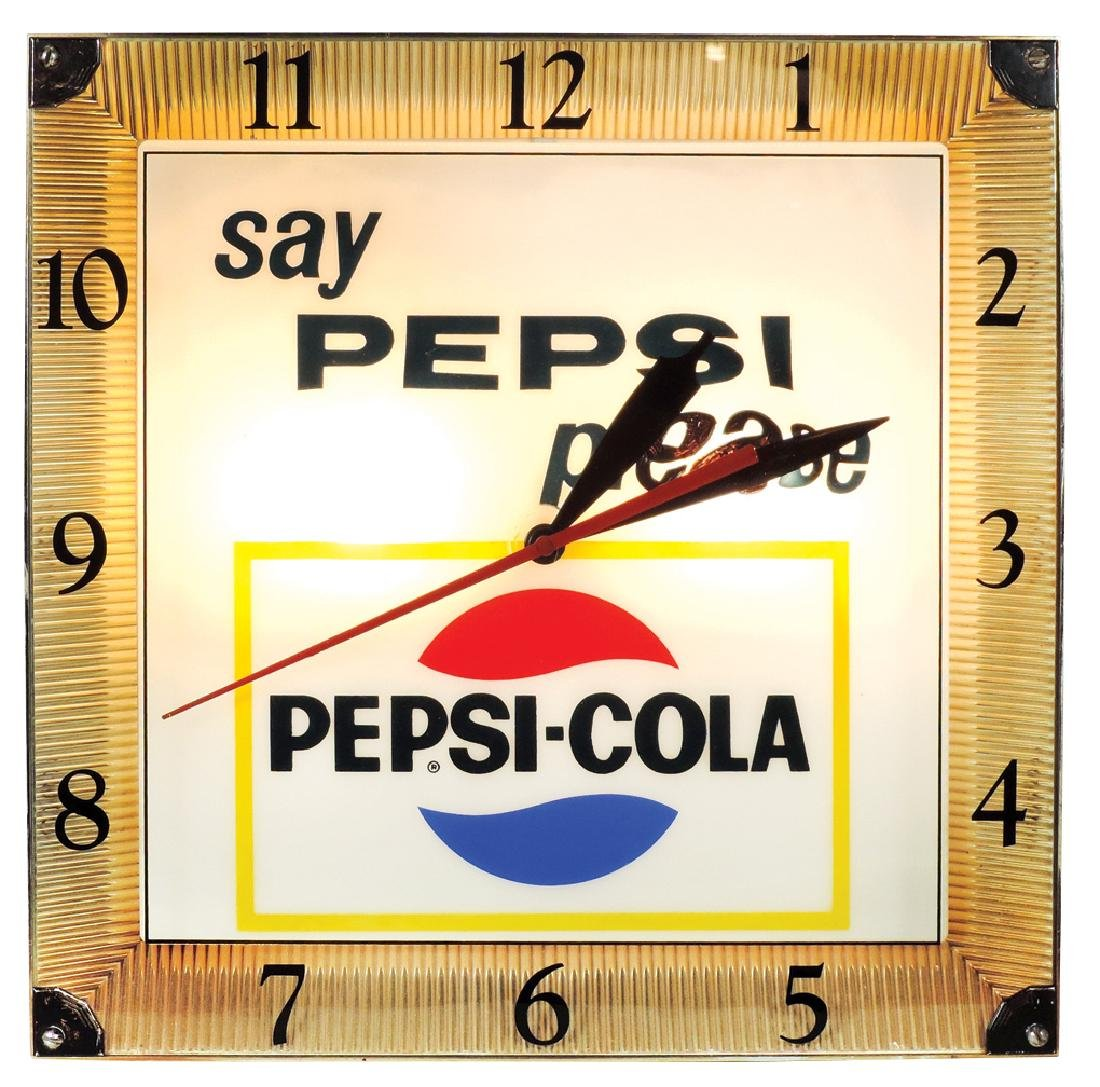 "Pepsi-Cola clock, ""say Pepsi please"", metal & molded"