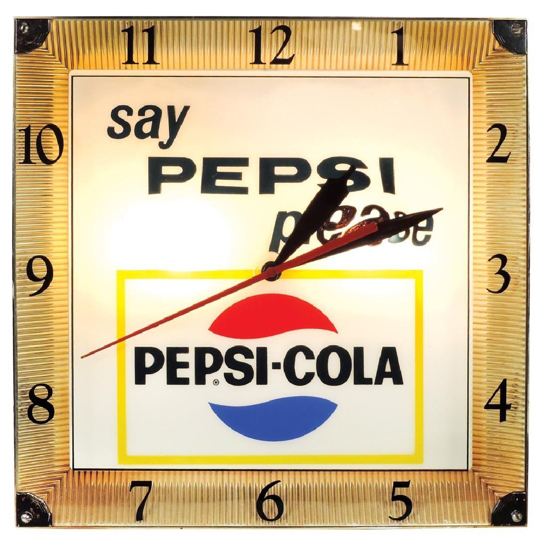 "Pepsi-Cola clock, ""say Pepsi please"", metal & molded"