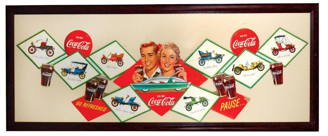 "Coca-Cola festoon, ""Antique Cars"", diecut cdbd"