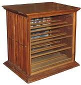 Country store ribbon cabinet, oak w/3 slide out