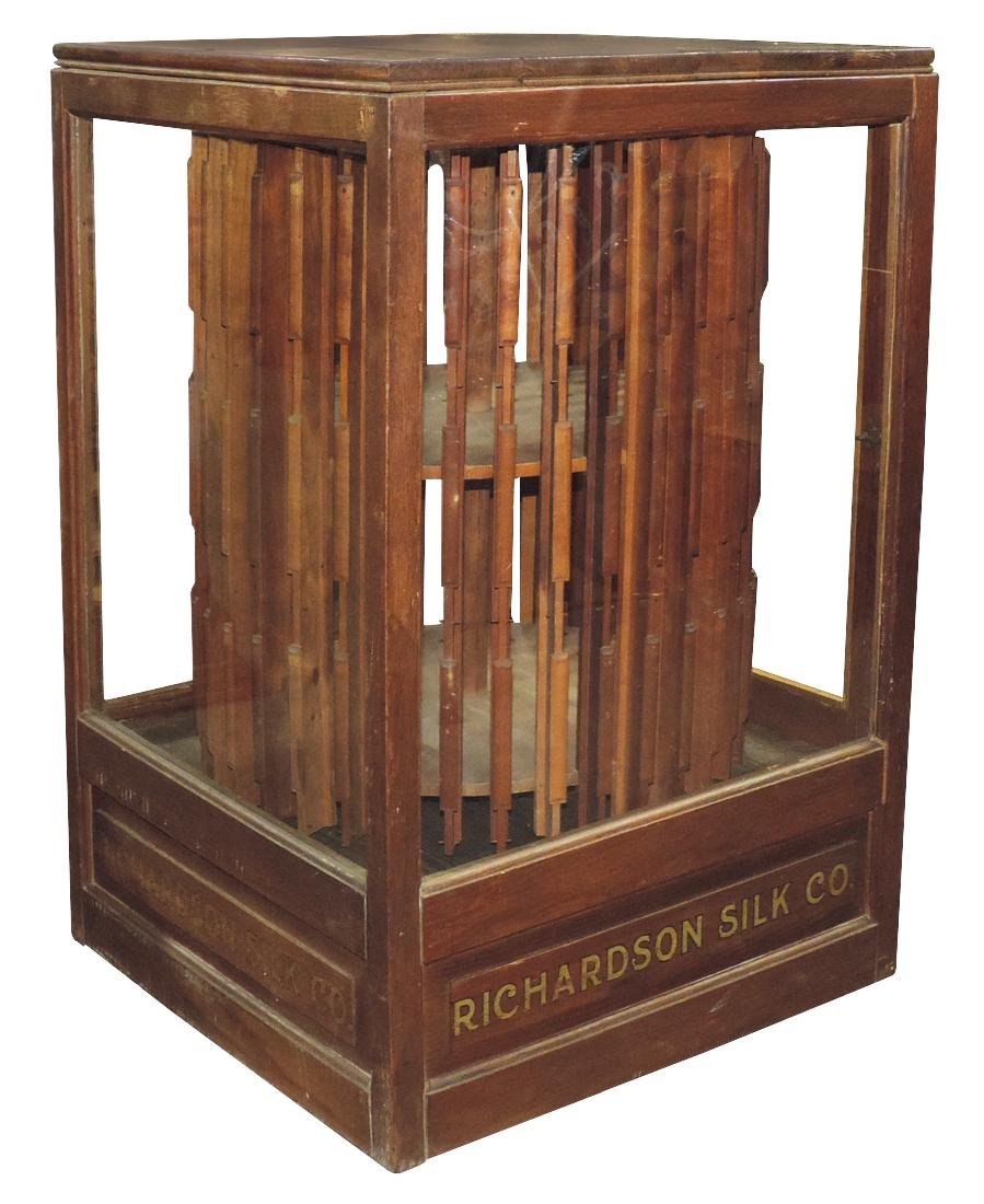 Country store spool cabinet, Richardson Silk Co., oak