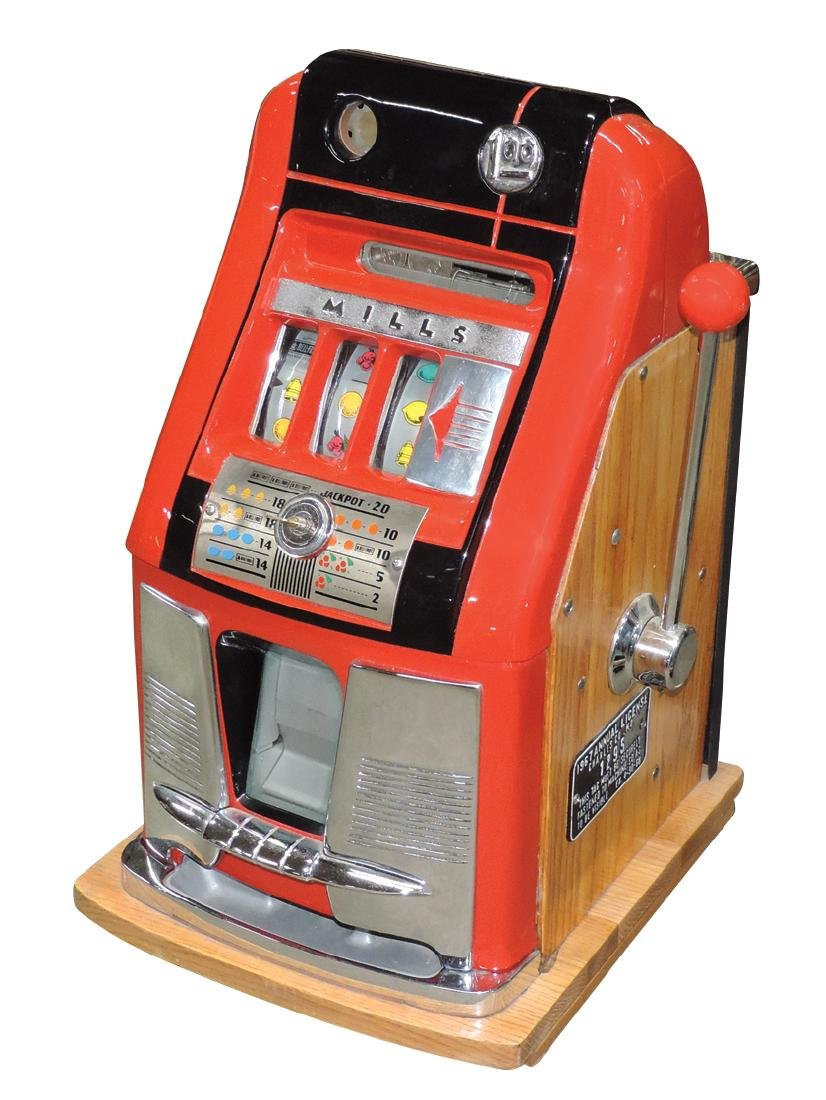 Coin-operated slot machine, Mills $1 hightop w/front