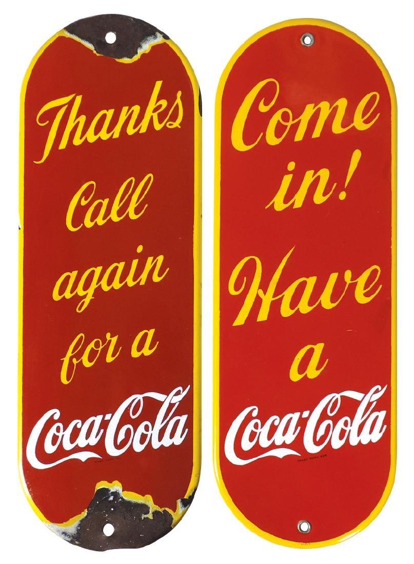 """Coca-Cola push plates (2), """"Come In! Have a Coca-Cola"""""""