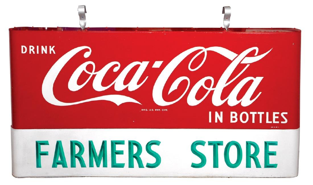 Coca-Cola sign, 2-sided hanging painted metal w/rounded