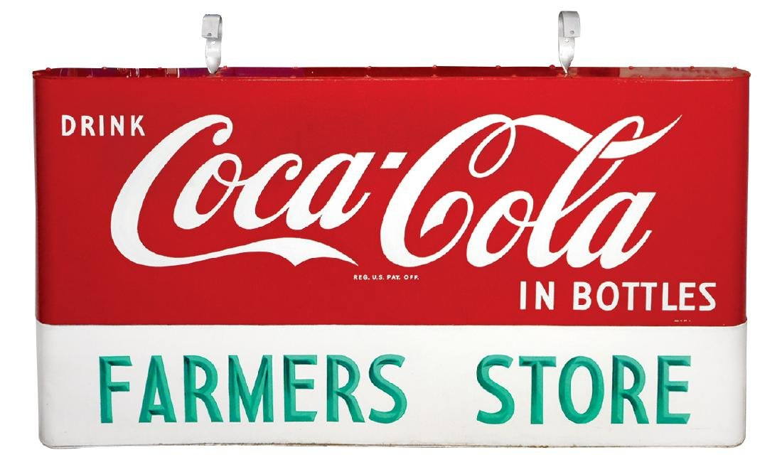 Coca-Cola sign, 2-sided hanging painted metal w/rounded - 2